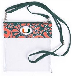 University of Miami Hurricanes Womens Stadium Approved Clear Crossbody Bag
