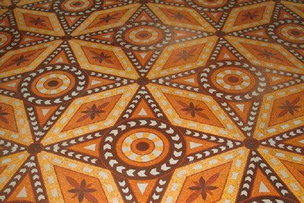 Stencilled Cork Floor Cork Flooring Natural Cork Flooring Cork Art