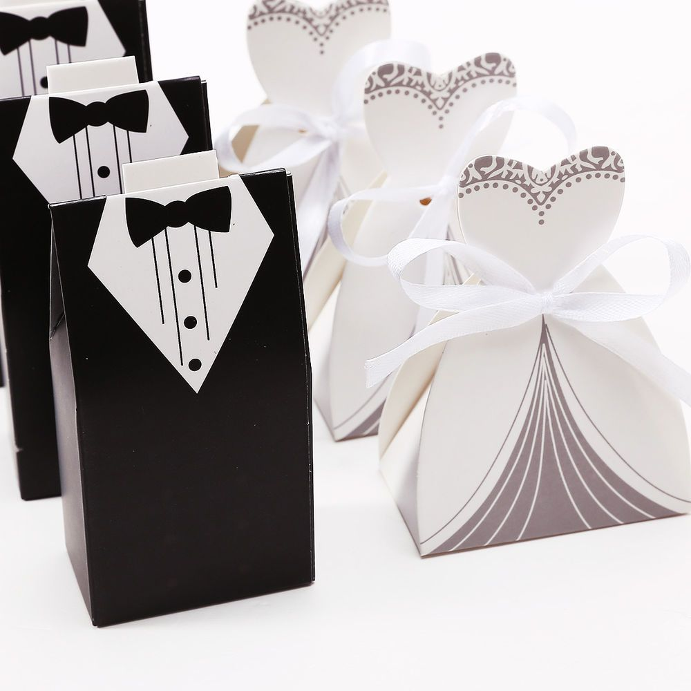 200pcs Wedding Themed Gift Candy Boxes Sweets Bride Groom Style with ...
