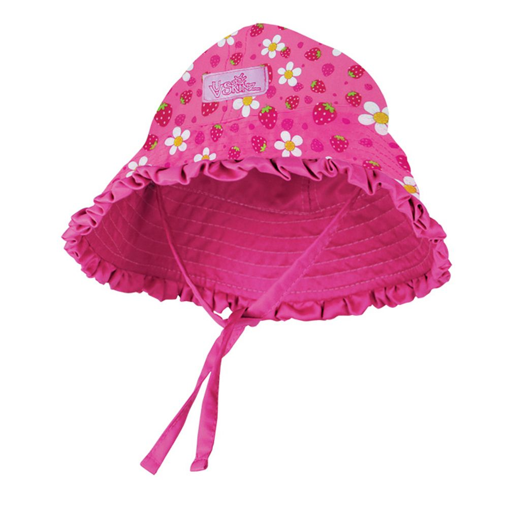 Hot Pink Strawberries Baby Girl Sun Hat with ties and ruffles 13d3f0232d4