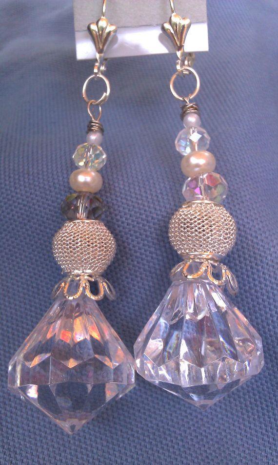 Crystal chandelier inspired dangle earrings by DoubleDzBeadz, $6.97