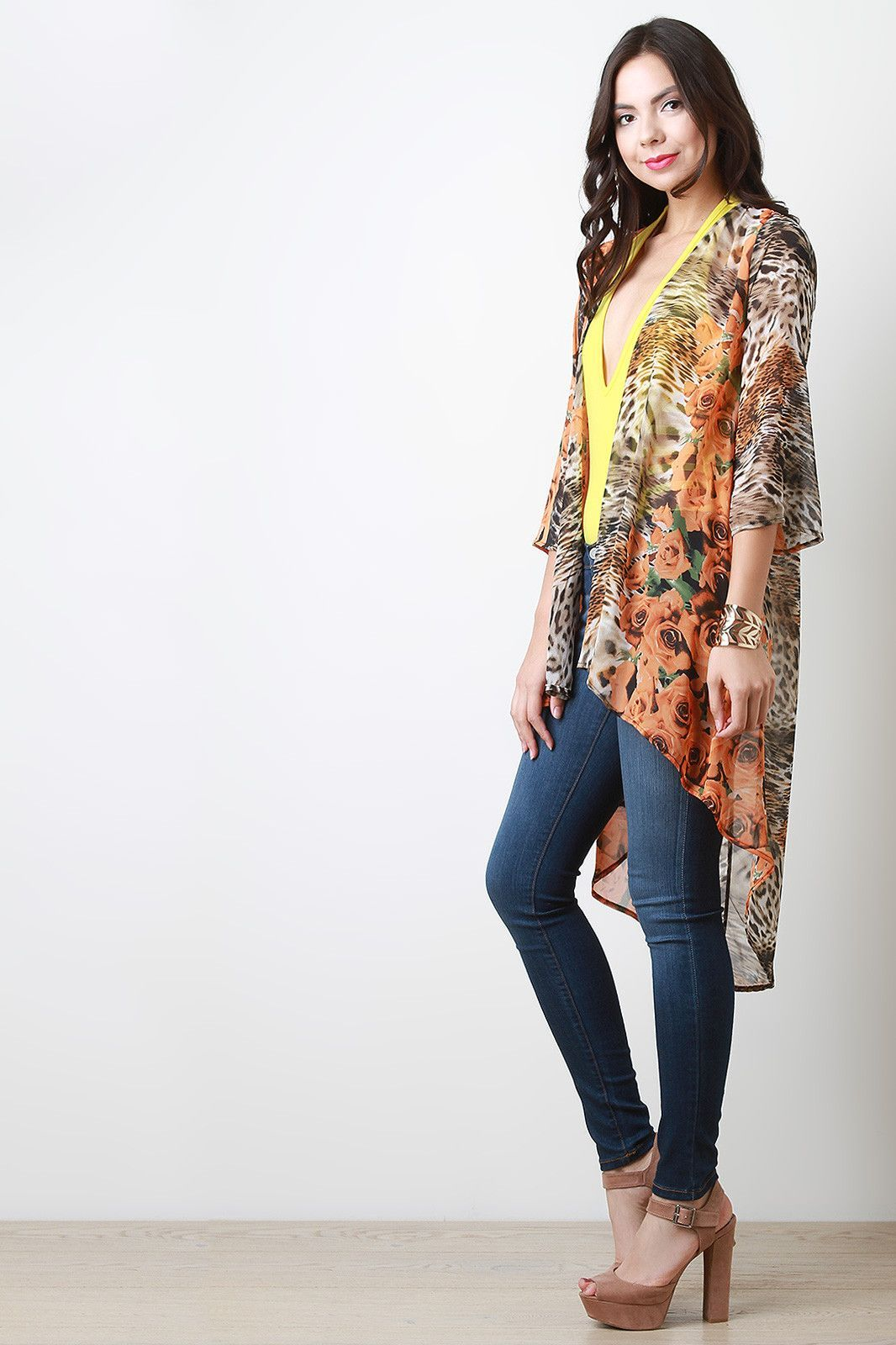 And Leopard Chiffon Open Front Cardigan