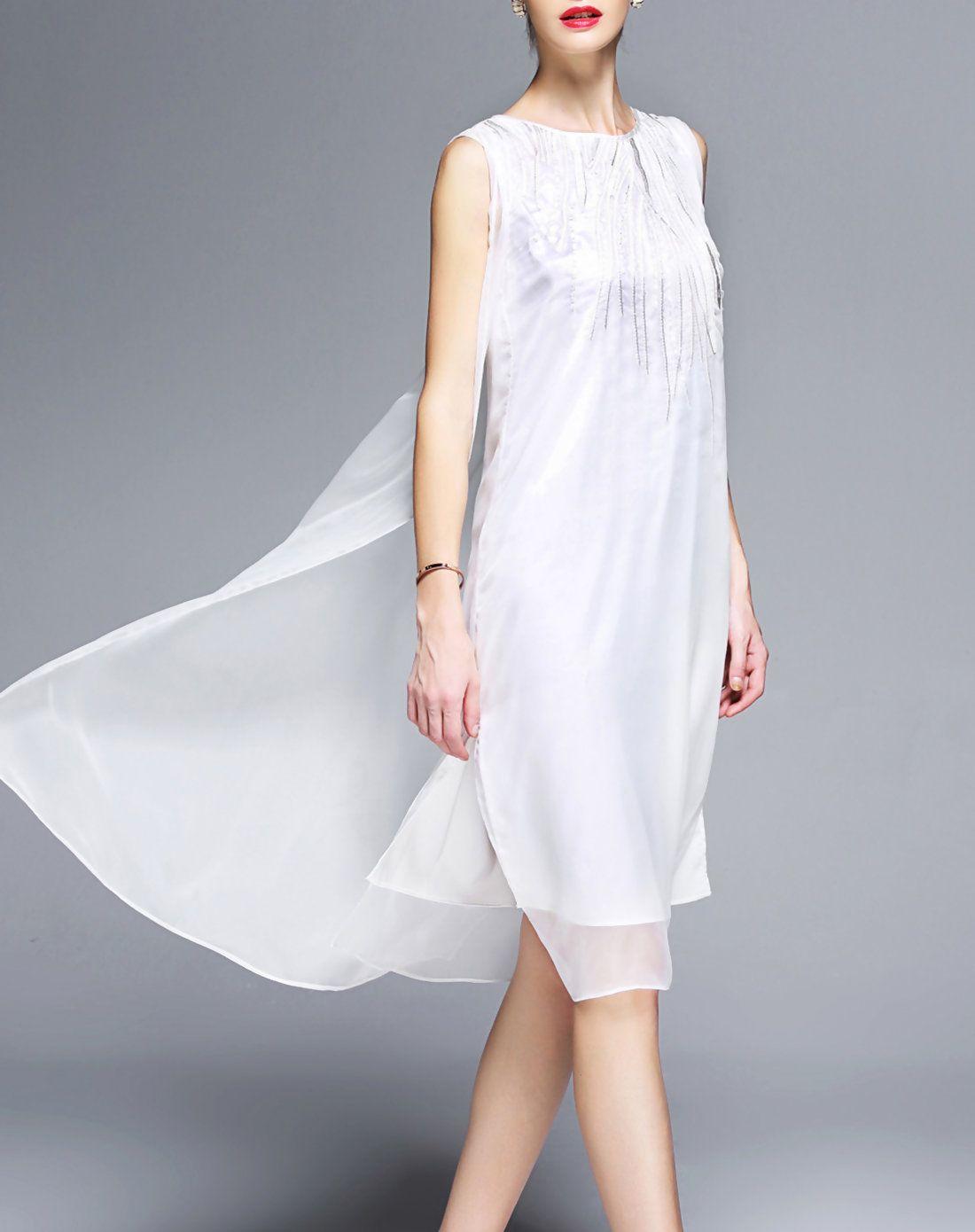 AdoreWe VIPme Shift Dresses GYALWANA White Chiffon Sleeveless