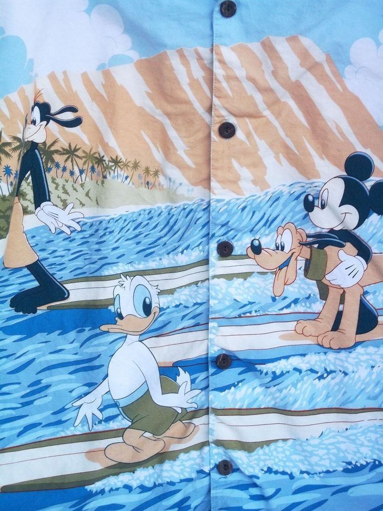 63c6c0582 Mickey Mouse 2XL Hang Loose Hawaiian Shirt Pluto Donald Duck Goofy Surfing  WDW #WaltDisneyWorld #Hawaiian