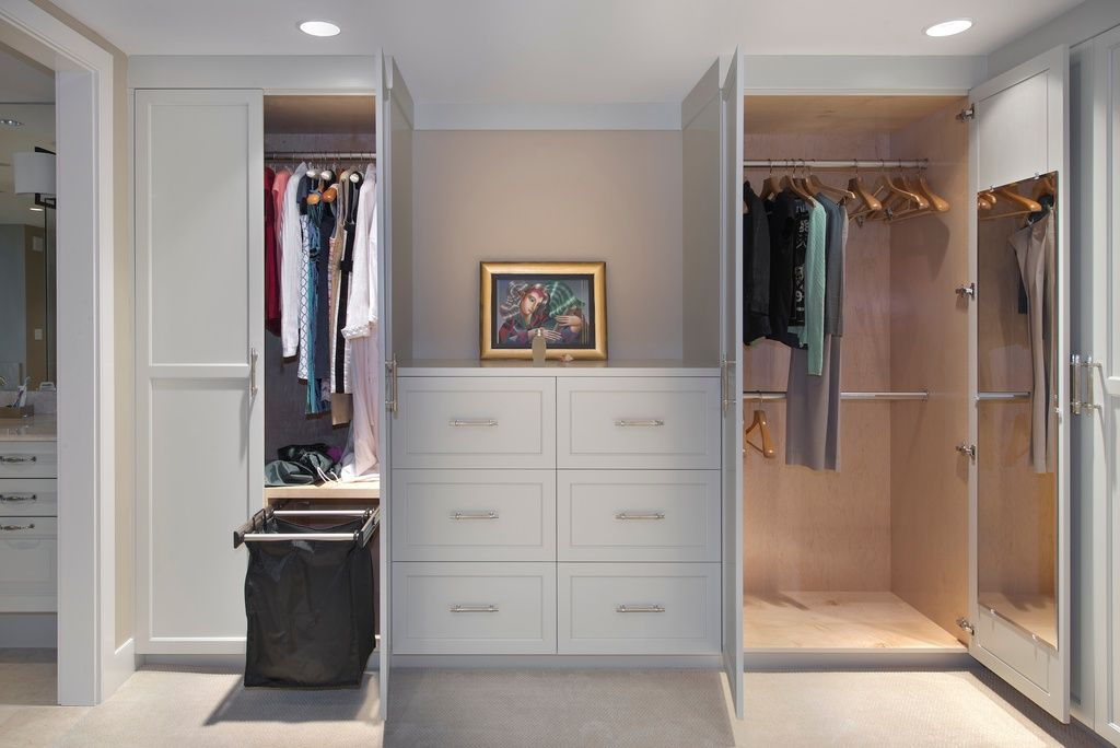 Traditional Closet with Ikea Brimnes Wardrobe with 2 Doors, White, Concrete floors, Antagone