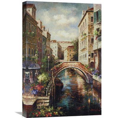 """Global Gallery 'Venice Canal' by James Lee Painting Print on Wrapped Canvas Size: 24"""" H x 16"""" W x 1.5"""" D"""