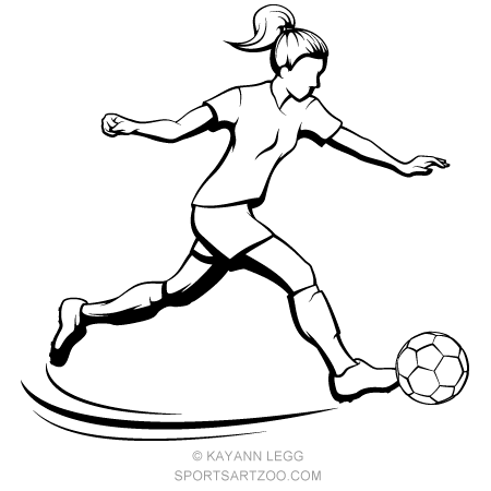 Soccer Girl Kicking Sportsartzoo Soccer Girl Soccer Drawing Soccer Art
