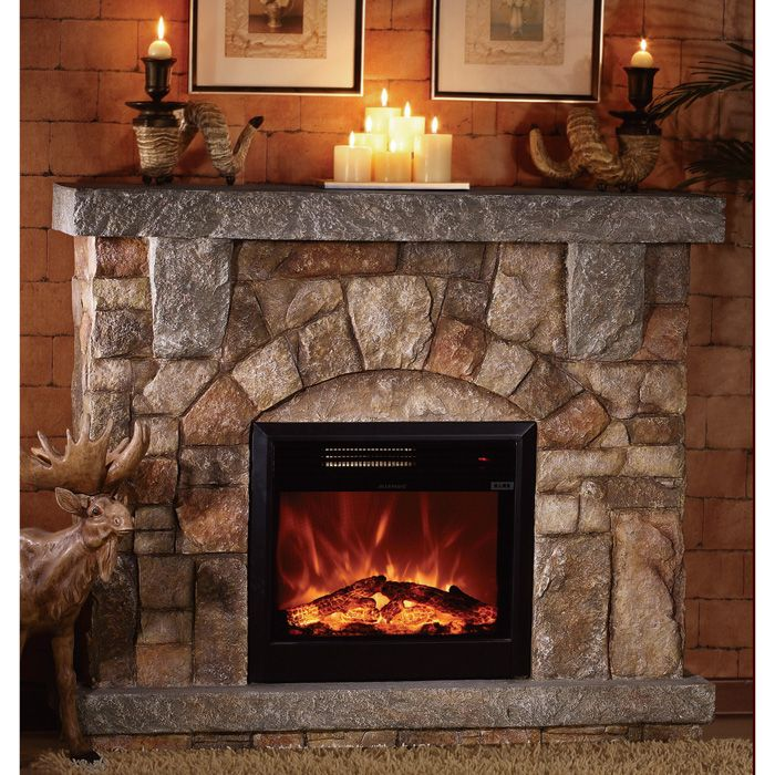 Electrical Design Software Home: Unifire Polystone Electric Fireplace With Mantel