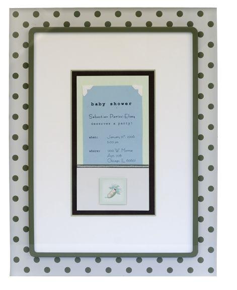 A baby announcement framed in pea pod green custom corner acrylic ...