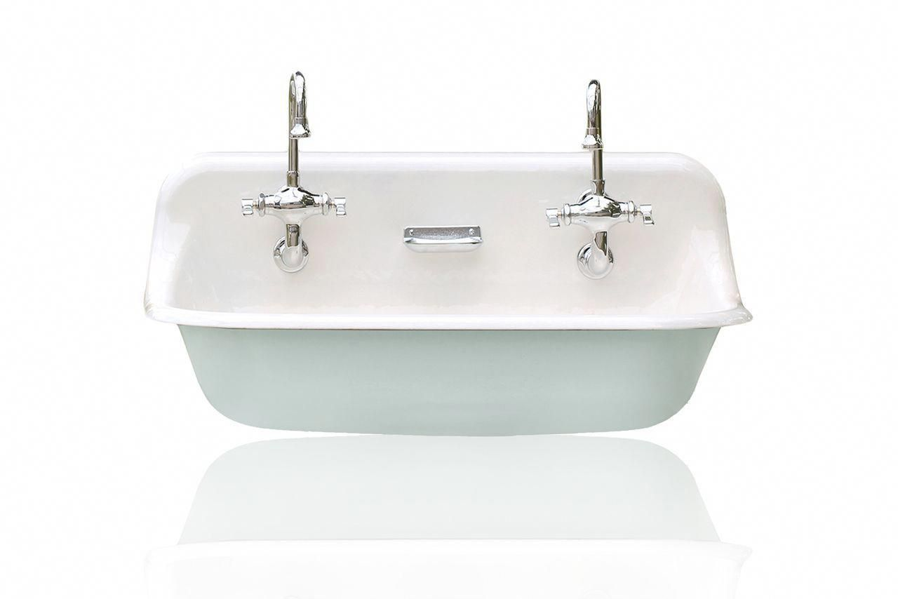 Antique interior design trough sink wall mounted