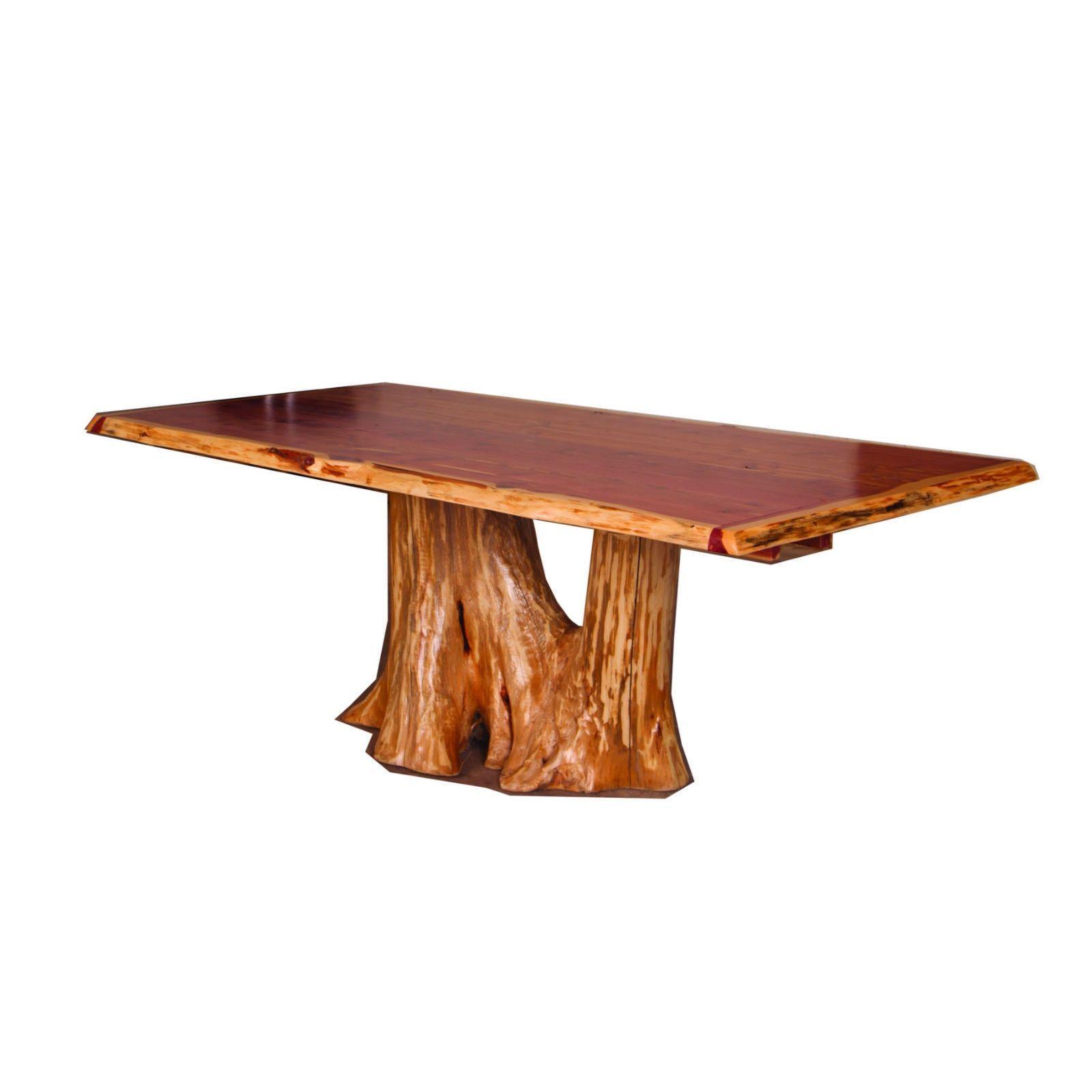 Rustic Red Cedar Log Tree Stump Trunk Dining Table Stump Table