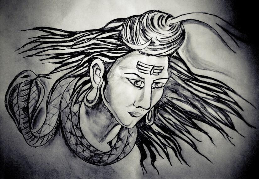 Lord Shiva - Sketching by Kush Sahani in Pencil drawings at