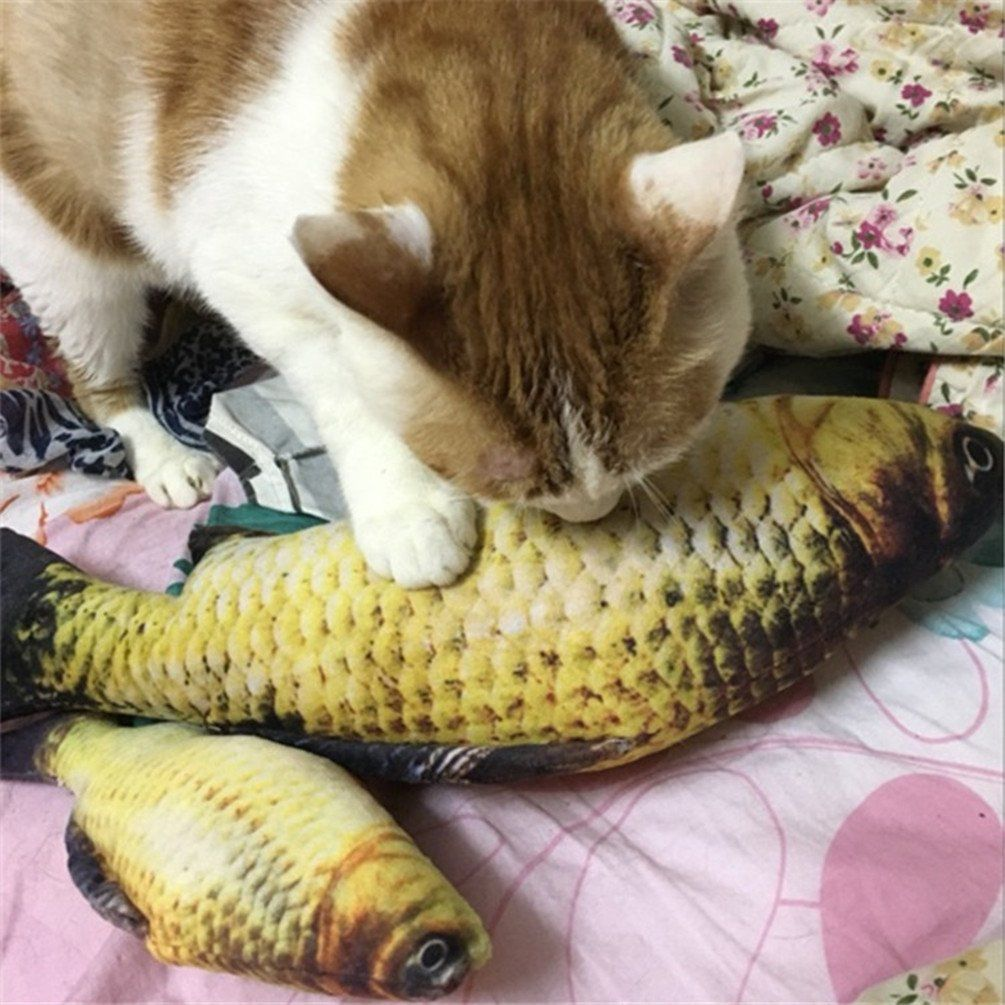 Cat Catnip Toy Fish For Pet Kitten Simulation Plush Crucian Shape Doll Interactive Pet Pillow Chew Bite Supply For Cat Fish Flop Refill Kitten Toys Fish Cat Toy