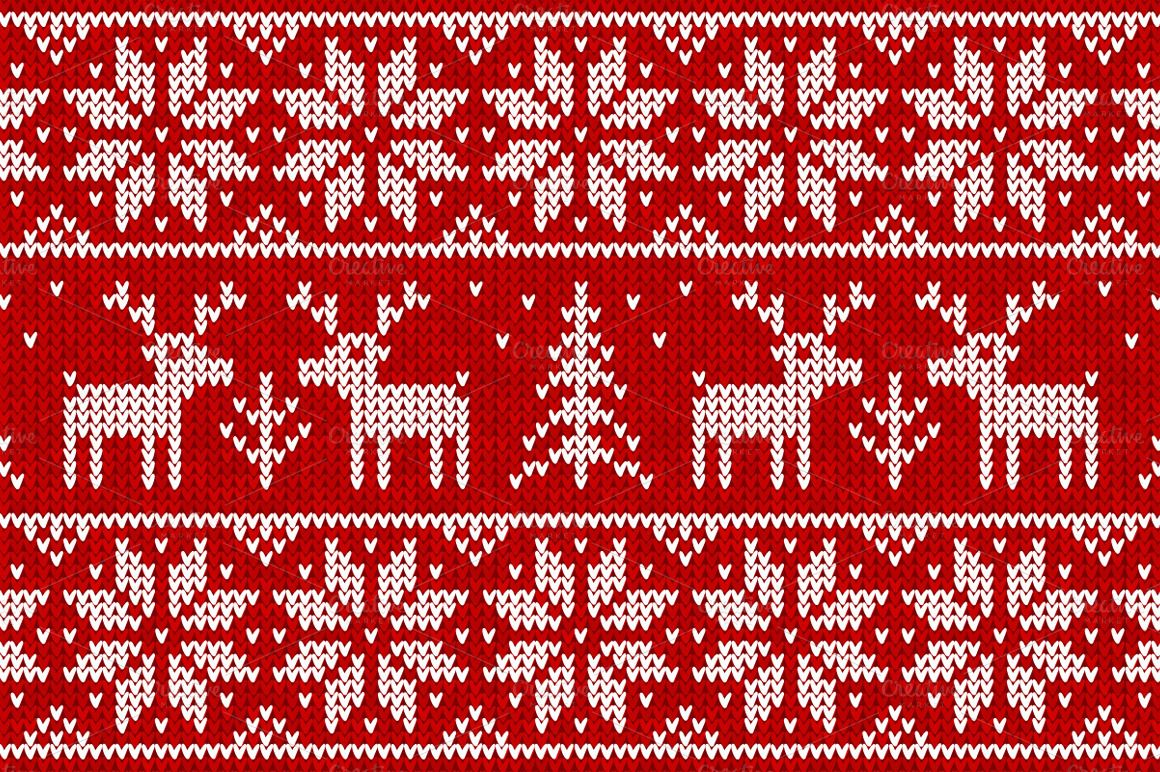 10 knitted vector seamless patterns | Patterns, Christmas knitting ...