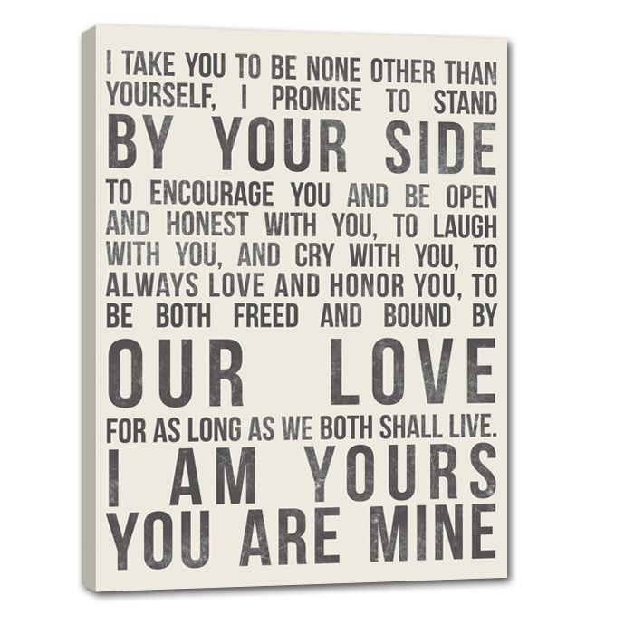 Your Vows Printed On Canvas