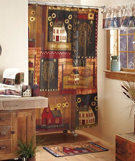 Americana Country Living Bathroom Shower Curtain Towels Rug