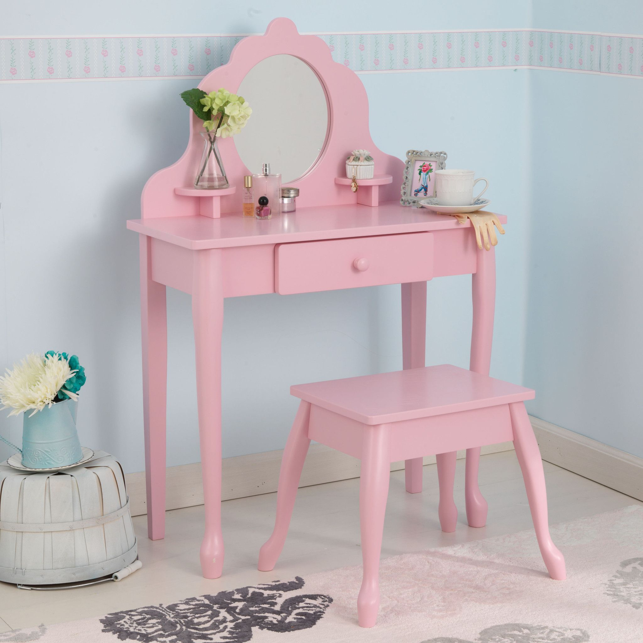 KidKraft Medium Diva Table Stool Pink 13023 Vanity tables