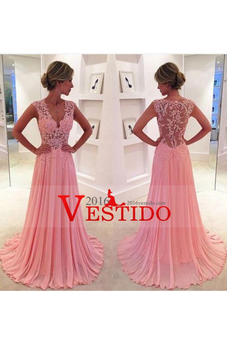 2016 Una línea de cuello en V vestidos de baile de gasa con apliques ...