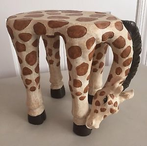 Grazing Giraffe Table Stool Signed By Chinese Artist JAIMY