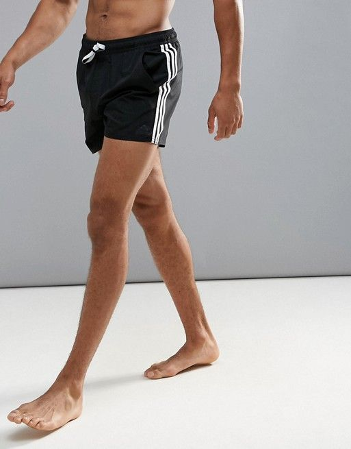 20efe65448 adidas Swimming Shorts In Black With Stripe Branding In Black AY4415 ...