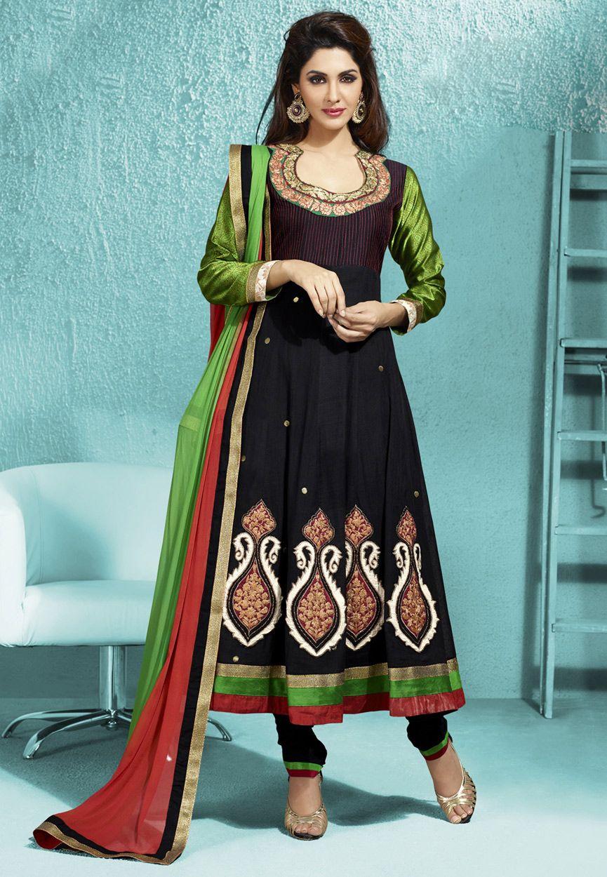 Black Poly Cotton Anarkali Churidar Kameez Online Shopping: KEP73 ...