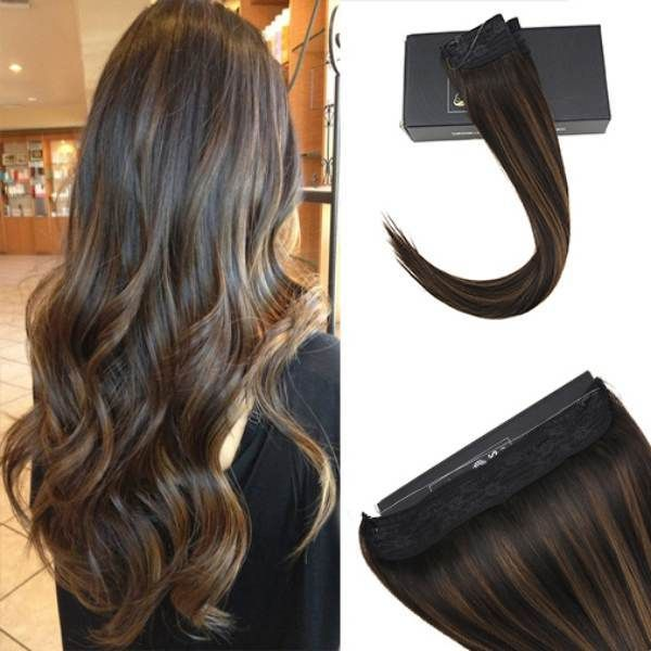 Flip On Human Hair Extensions No Glue Silky Straight Balayage Brown