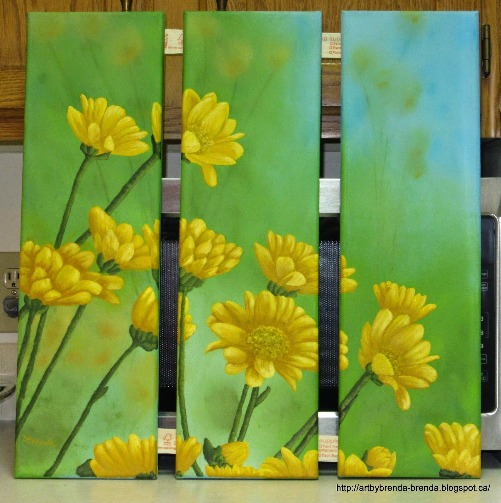 My latest painting. Triptych, 3 panels each 6 x 20 inches. Title: Yellow Daisies Oil on canvas Size: 3 panels 6 x 20 inches each. These are usually hung with a small space in between them. For Sale: $ 110.00 CAD, unframed, plus shipping