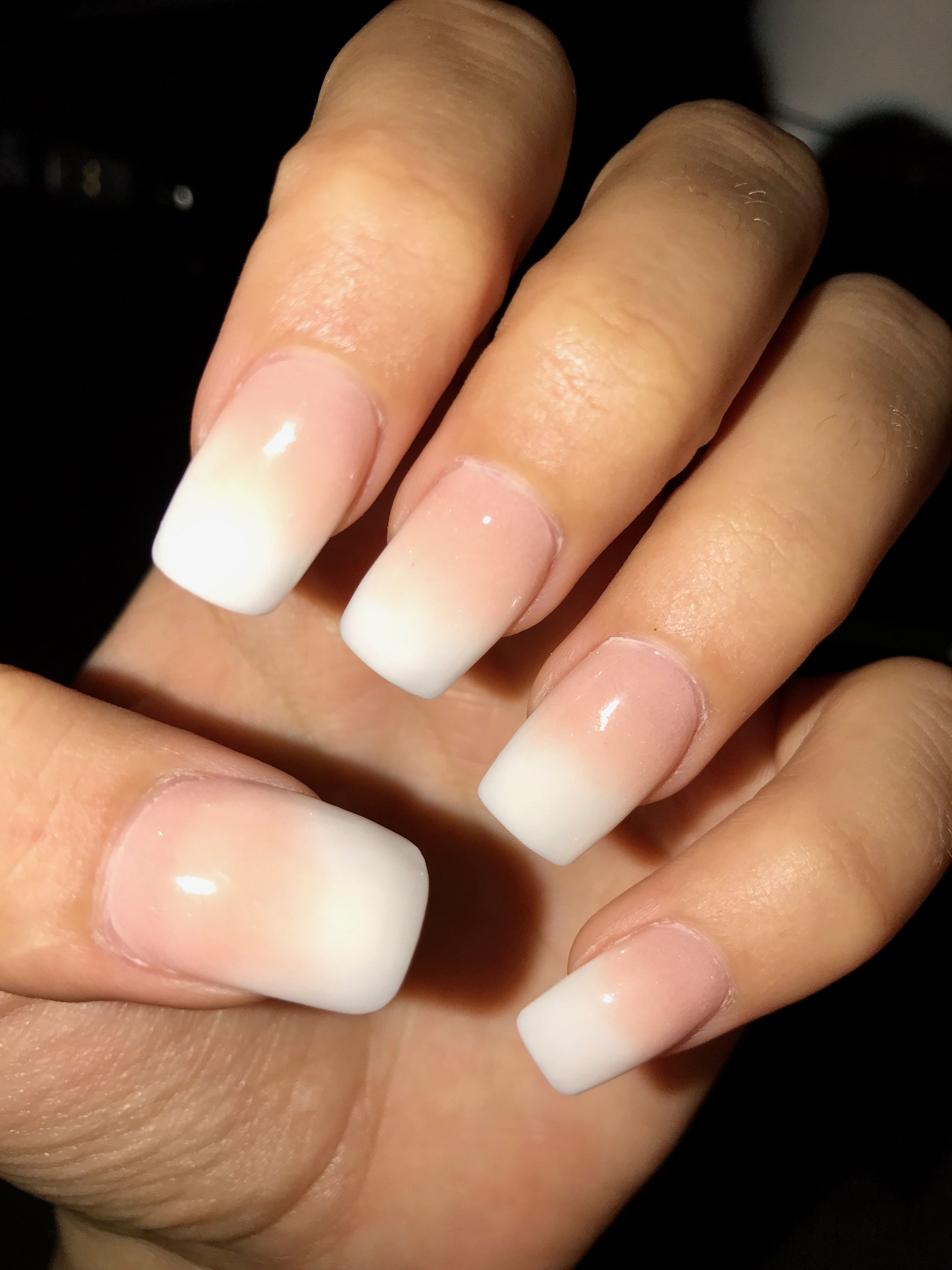 French fade white tip gel nails #ombre #acrylics, #milky #french ...