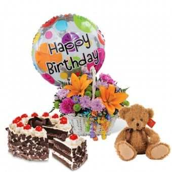 Colorful Blooms Basket Flower Balloon Cute Stuffed Toy and