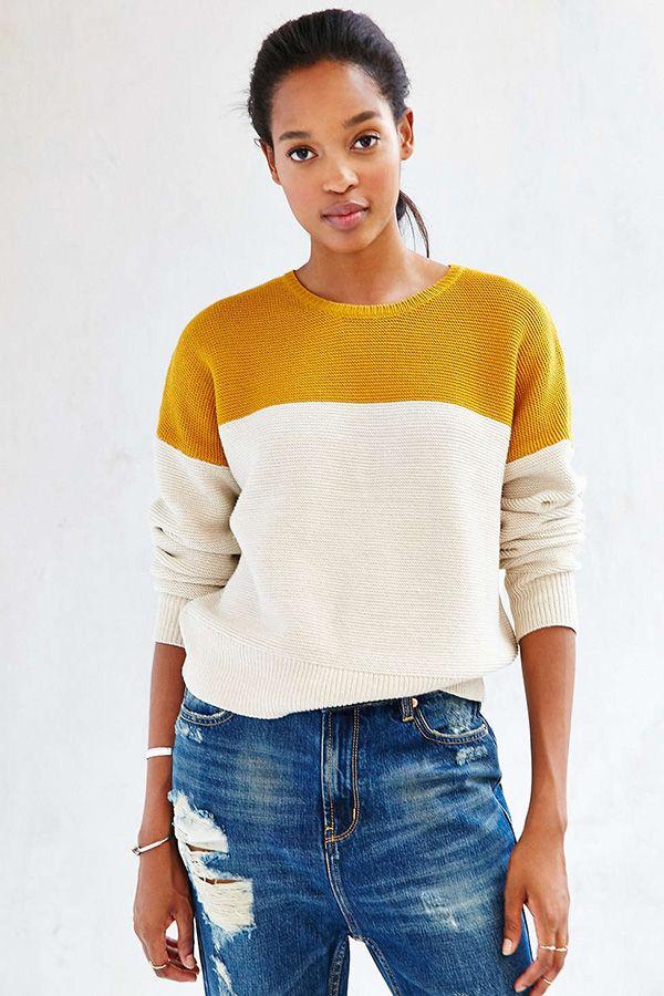 12 Cozy Sweaters   A Cup of Jo. Eg blir ikkje lei av marigold+krem. Det +jeans er kjempefint
