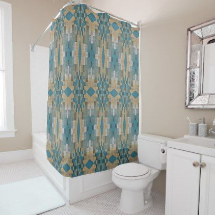 Teal Blue Green Taupe Brown Eclectic Ethnic Look Shower Curtain