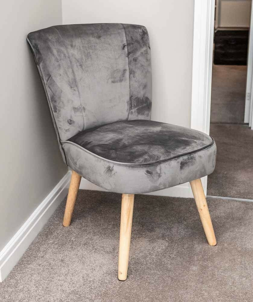 Luxury Grey Velvet Accent Chair Occasional Lounge Bedroom ...