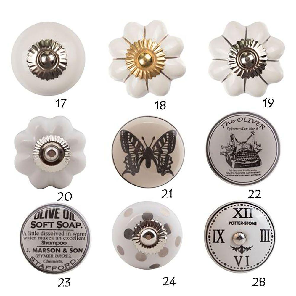 Mobelknopf Porzellan Mobelknauf Schwarz Weiss Keramik Vintage