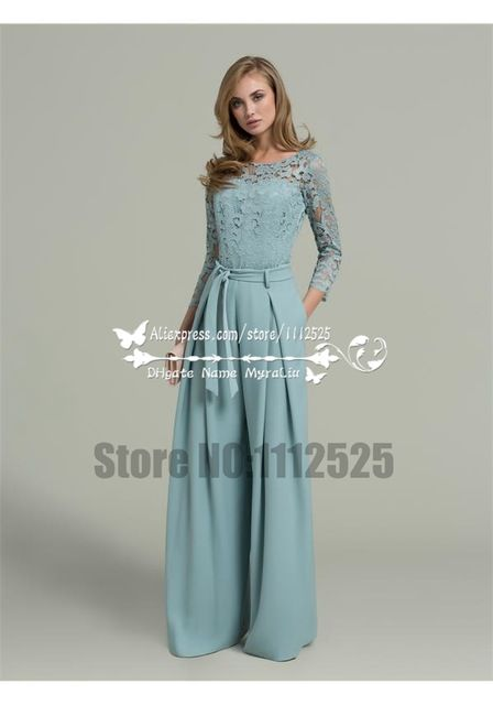 Amp 1190 Womens Chiffon Prom Jumpsuit With Lace Long Sleeves Mother