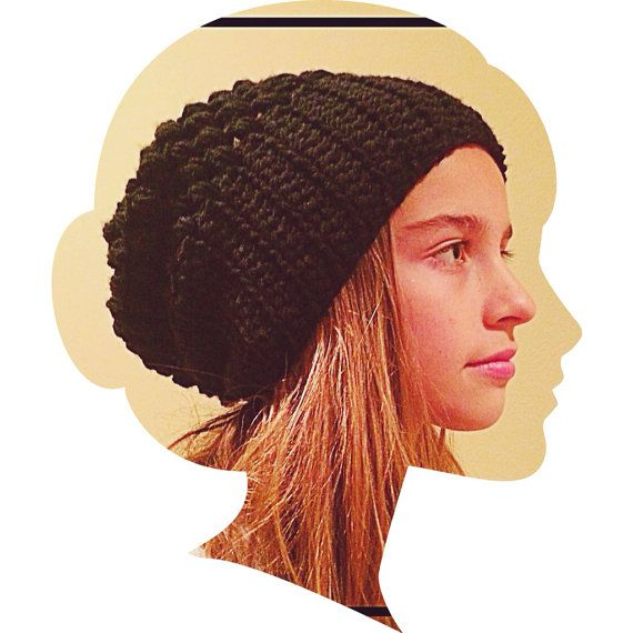 Black Slouchy Beanie by pesquallie on Etsy