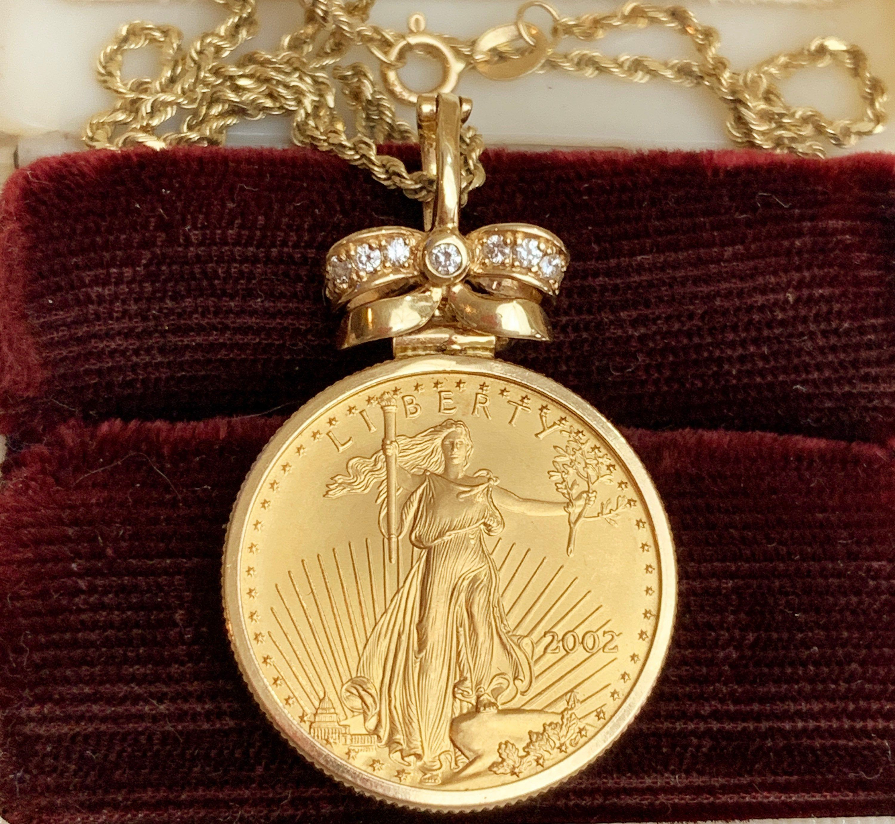 22k American Gold Eagle 1 4 Oz Gold Coin 14k Gold Round Etsy In 2020 Gold Coins Gold Eagle Statement Pendant