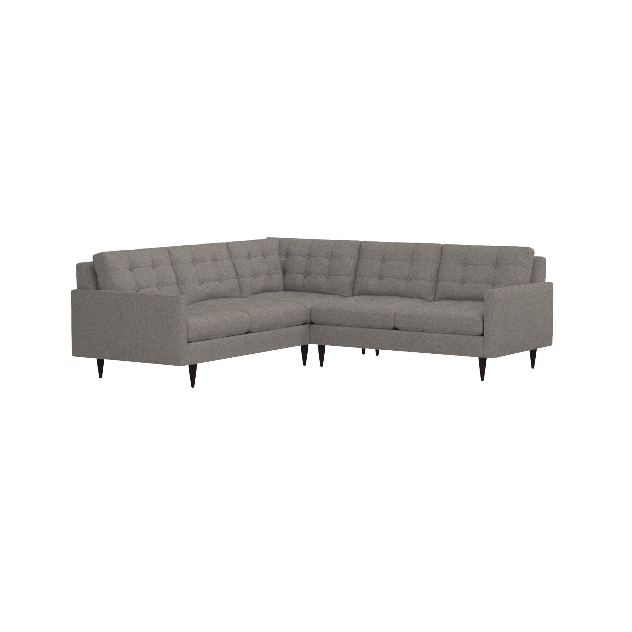 Shop petrie 2 piece corner midcentury sectional sofa now a crate and barrel classic its pure 1960s aesthetic is scaled deep so you can sit firm and