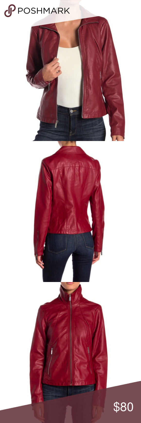 d5560eaf783d Kenneth Cole New York Red Faux Leather Moto Jacket.  shopmycloset  poshmark   fashion  shopping  style  forsale  Kenneth Cole  Jackets   Blazers