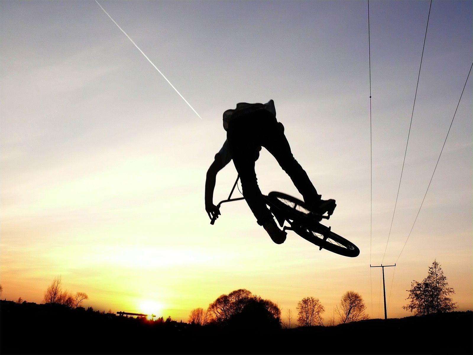 Sunset Abstract Silhouette Bmx Stunt Bike Freestyle Bmx Freestyle Bmx