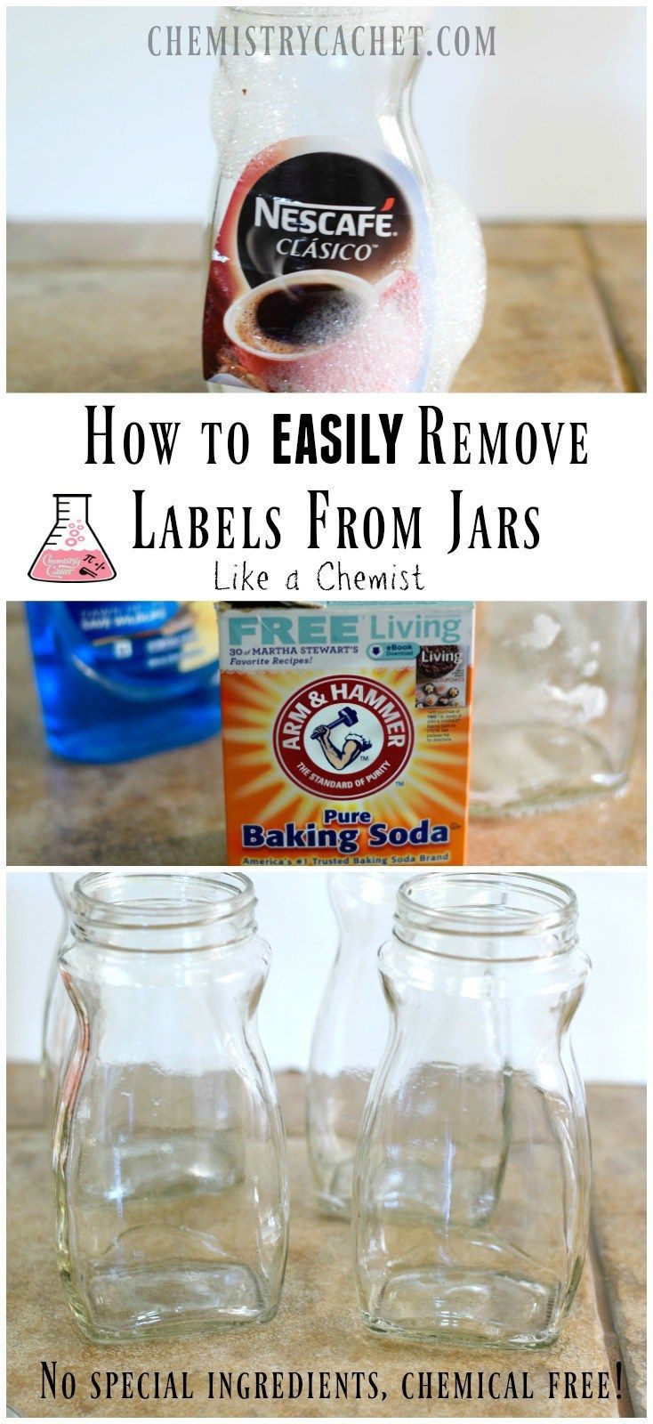 Tutorial on How to Remove Labels From Jars the easy way! No special ingredients needed and it only takes two steps! This is how we removed STUCK on labels in the chemistry lab without added chemicals. Find details on http://chemistrycachet.com