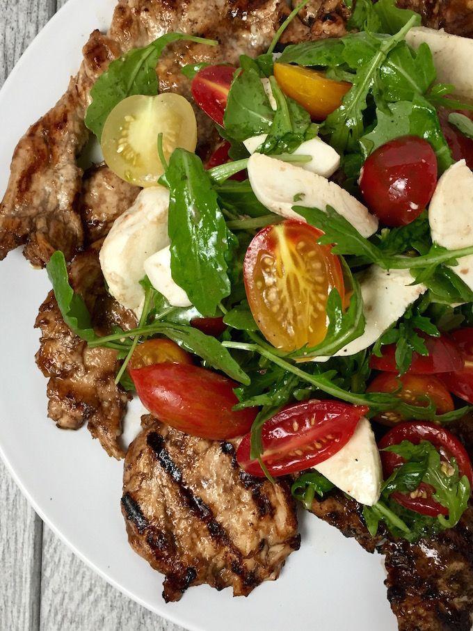 Grilled Chicken Paillard With Arugula Mozzarella Cherry Tomato Salad The Optimalist Kitchen Recipe Cherry Tomato Salad Balsamic Marinated Chicken Chicken Paillard