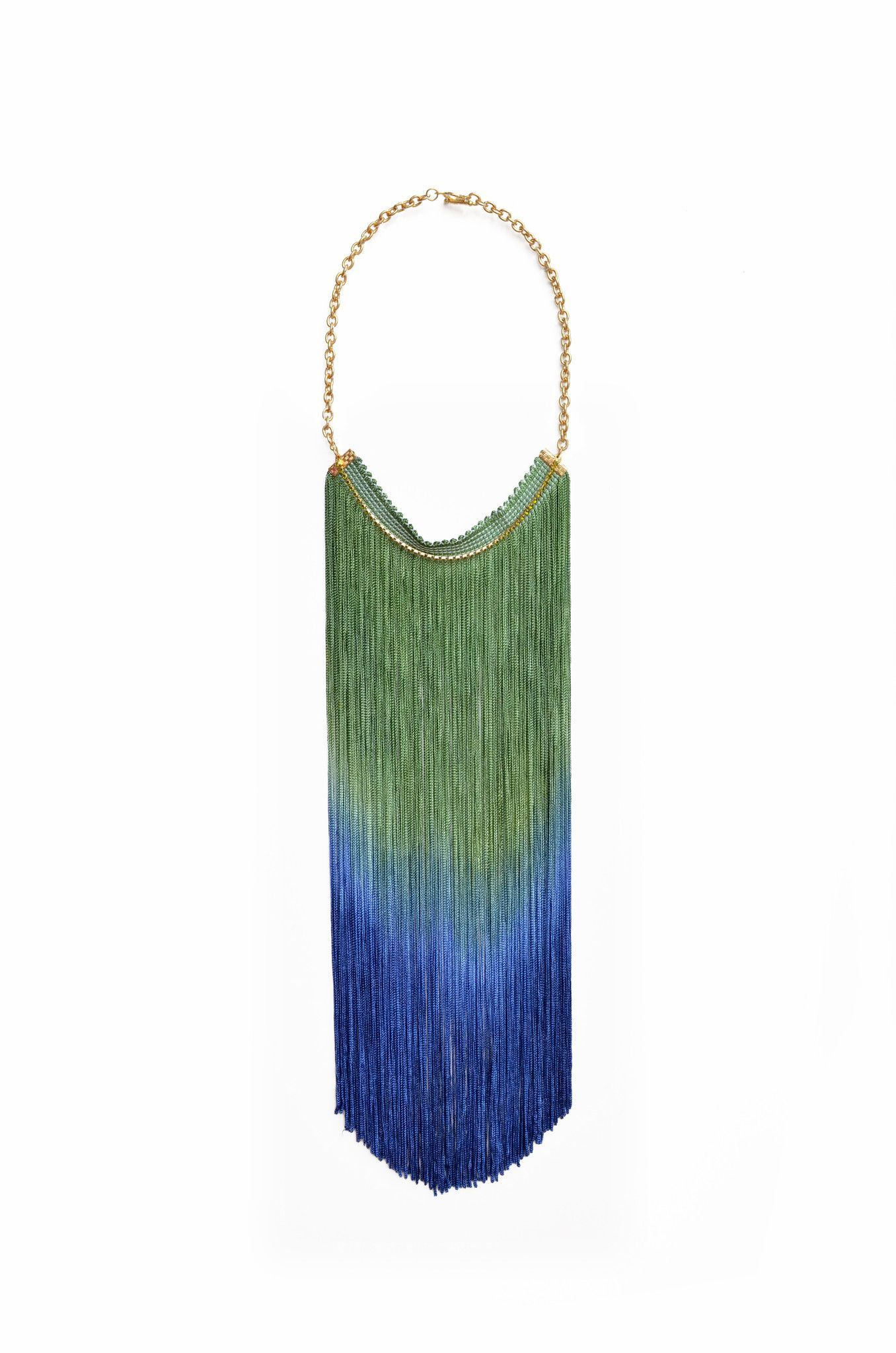 Long Ombre Fringe Necklace