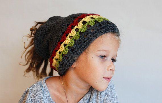 Crochet Head Band in Rasta Colors - for Dreadlocks or Long Hair, Men ...