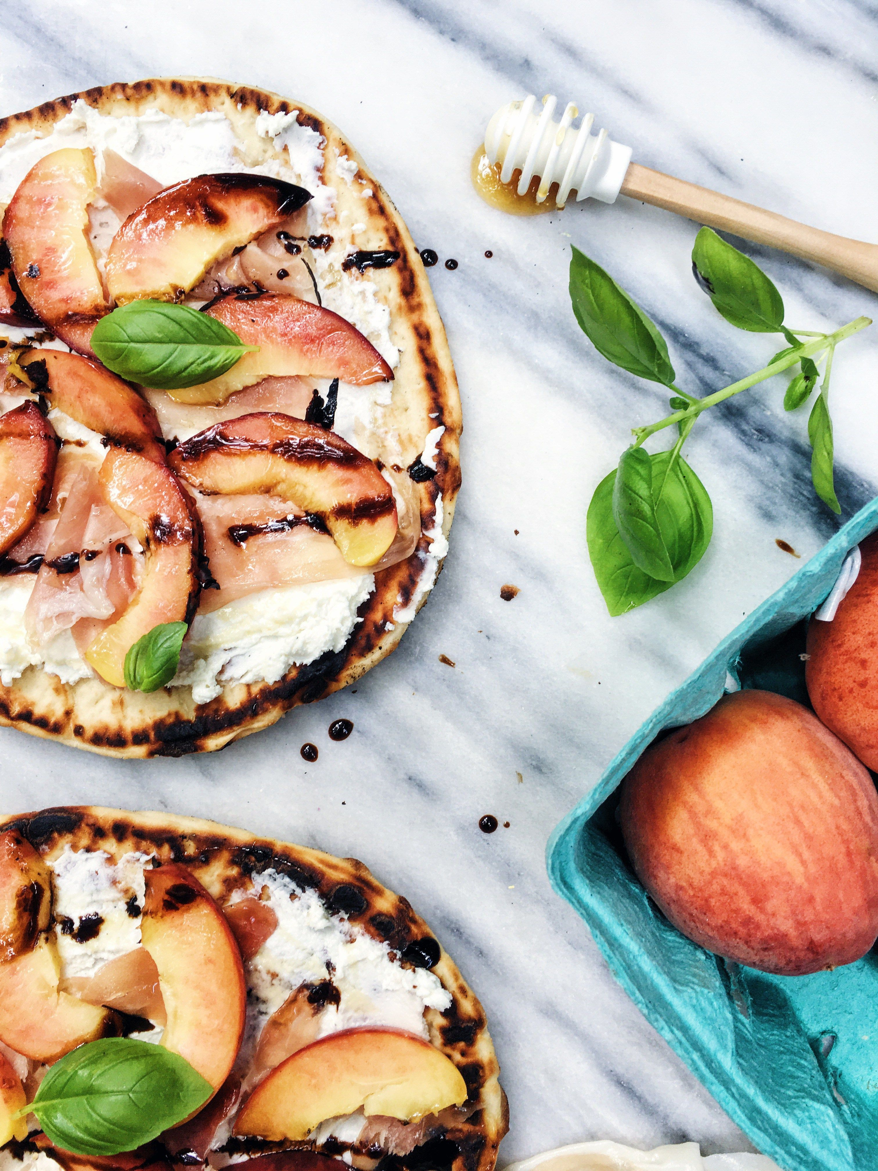Grilled Peach and Prosciutto Goat Cheese Summer Flatbread - Darling Down South