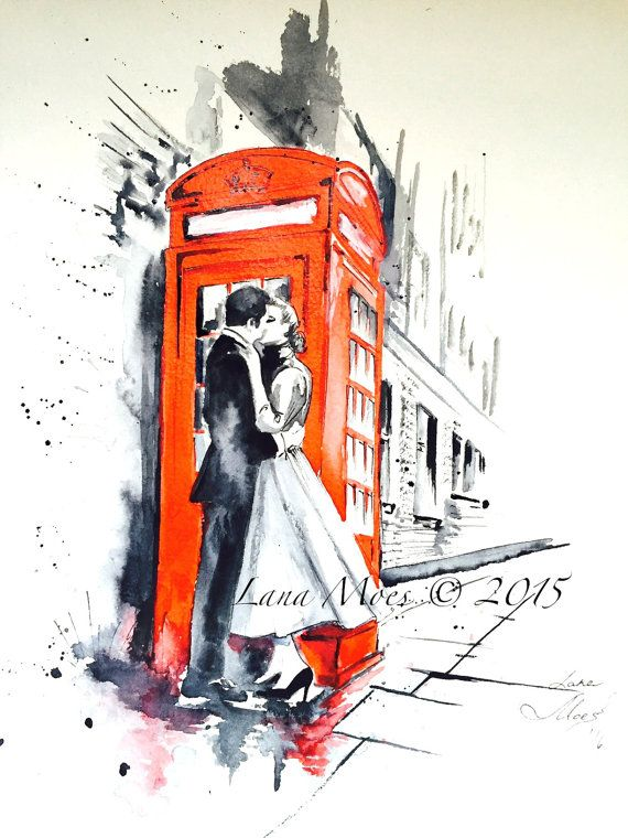 london kiss love watercolor illustration art print watercolor