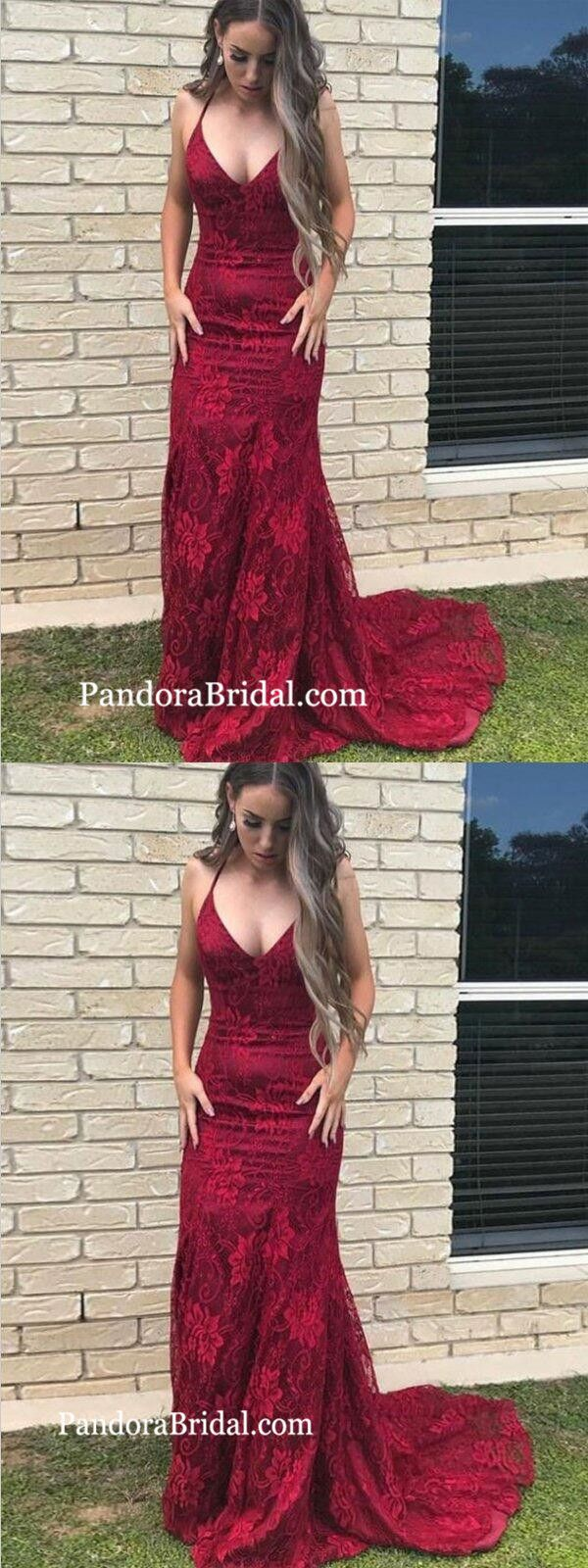 Mermaid halter sweep train red lace prom dresscheap prom dresses