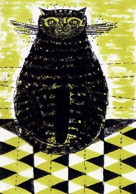 'Yellow Cat' by Robert Tavener, 1953 (lithograph)