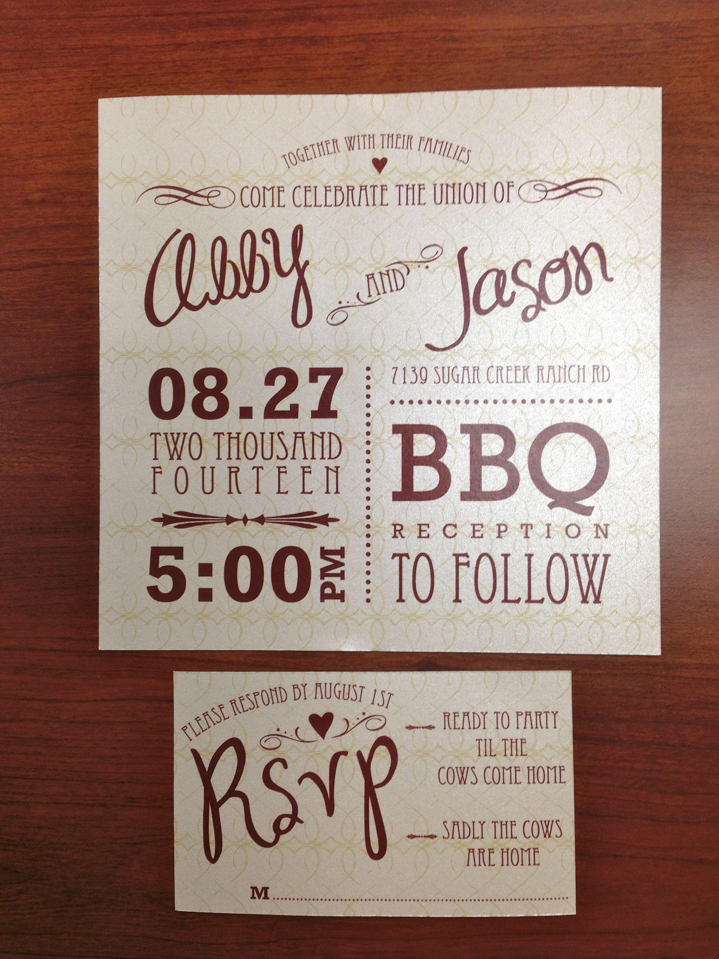 Southern Charm Rustic Wedding Invitation and matching RSVP ...