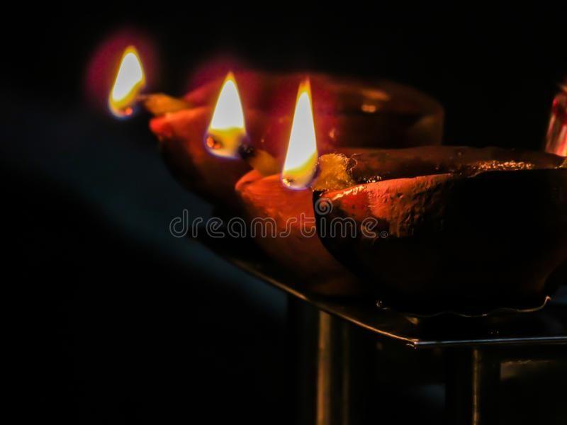 Lit Diya Lamp Clay Diya Traditional Diwali Festival Close Up Pair Of Three Ad Lamp Clay Lit Diya Traditional Diwali Festival Diya Lamp Diwali