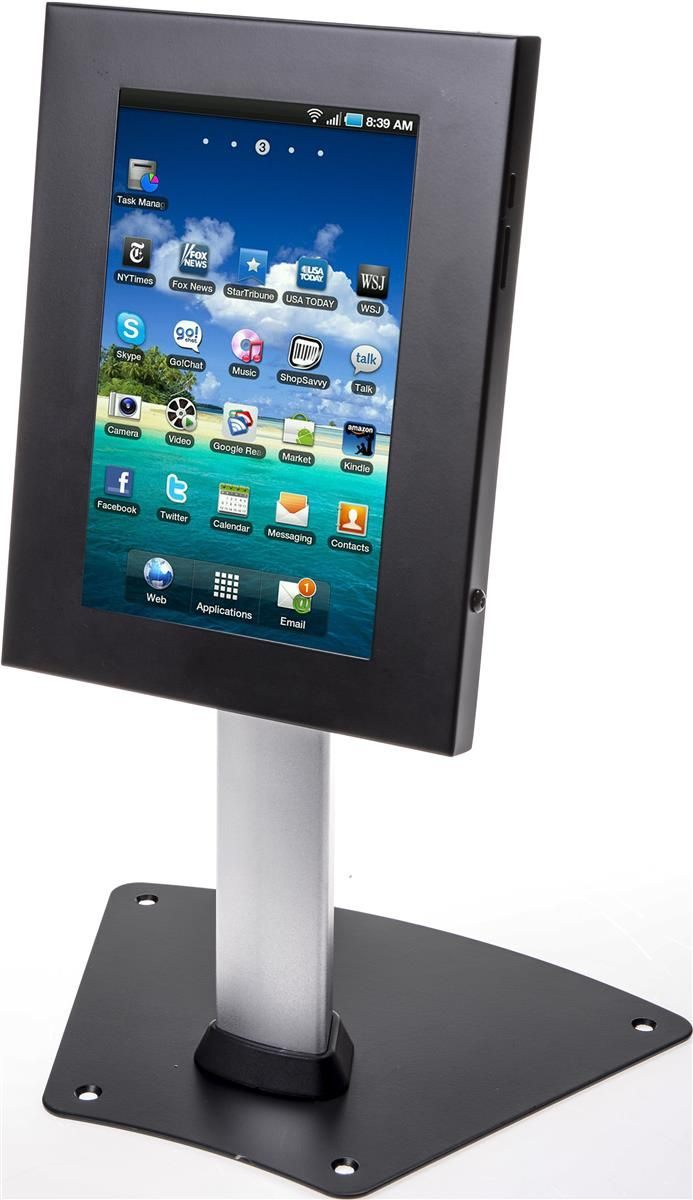 19 H Tablet Counter Stand W Locking Enclosure Tilting Bracket